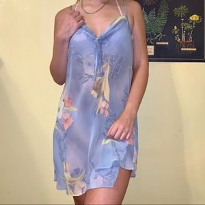 Vintage Blue Floral Sheer Gauzy Slip with Bow